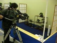 NHKの取材風景 ミニ盆栽席「環境大臣賞」(第35回雅風展)